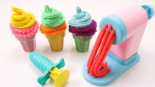 Making ICE CREAM Pretend Play Making Colorful PlayDoh Noodles Pasta #23