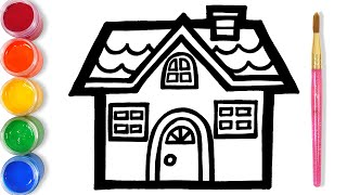 Lets Learn To Glitter House Drawing And Coloring | GENiEART
