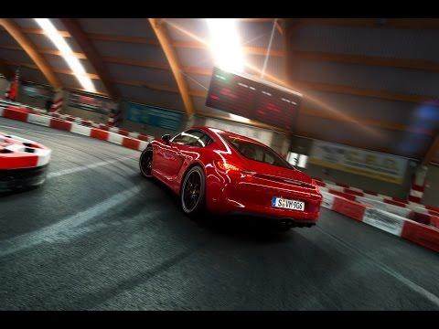 Porsche Cayman GTS vs. Go-Kart track