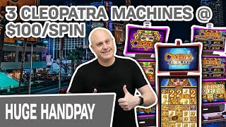 🥉 Three-Way CLEO PLAY @ $100/SPIN 💵 HIGH-LIMIT Slot Action on THREE Cleopatra Machines!