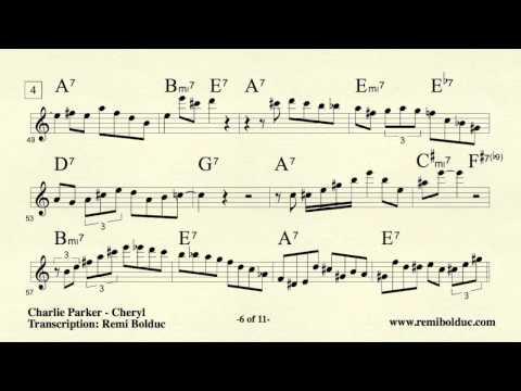 Remi Bolduc transcription : Charlie Parker on Cheryl Boston 1952