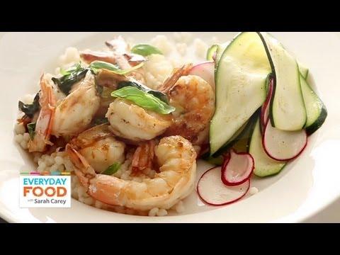 Lemon-Basil Shrimp with Shaved Zucchini Salad   Everyday Food with Sarah Carey