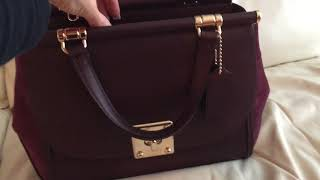 Coach Drifter satchel oxblood review, what's in my bag,  inside info and discount/sale tips