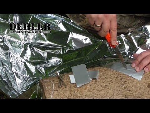 Unterschlupf (Tarp) aus Rettungsdecke - Survival-Shelterbau mit Extremtest