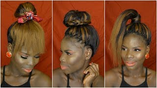 Top Buns & High Ponytail Hair on Crochet Braids | vivian beauty and style