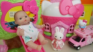 Kitty and baby doll house toys Hello kitty and baby Doli play