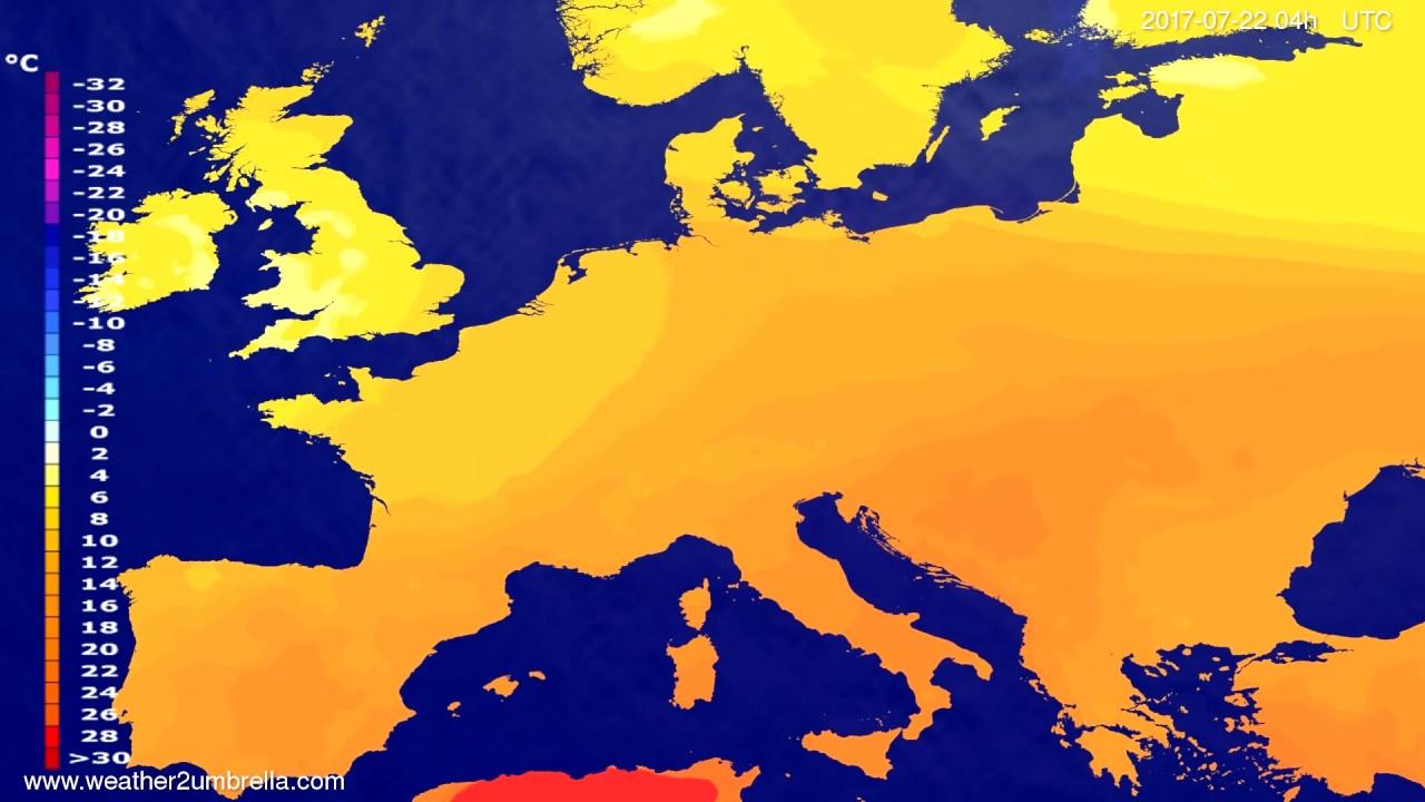 Temperature forecast Europe 2017-07-18