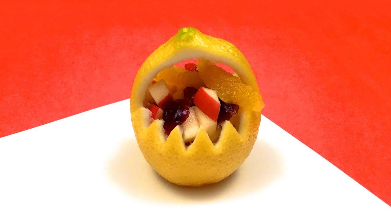 CESTINO DI FRUTTA CON UN LIMONE ♥ Intaglio Creativo Frutta ♥ VIDEORICETTA