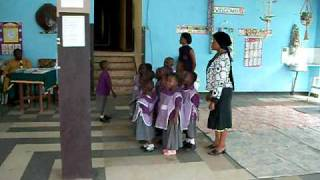 Nursery School kids singing the Cameroon National Anthem