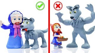 BABY RED RIDING HOOD MEETS BIG WOLF 💖 Stop Motion Cartoons Animation