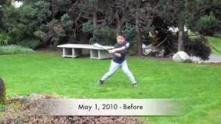 Baseball Swing Technique Before and After - 7 Year Old