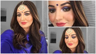 Indian Wedding Guest Makeup Tutorial //royal Blue Soft Smokey Eye