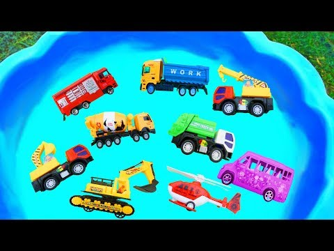 Cars for Kids,Learning Name and Sound School Bus,Dump Truck,Fire Truck,Helicopter,Garbage Truck Toy