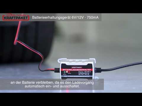 Dino KRAFTPAKET Batterieerhaltungsgerät 6V/12V-750mA KFZ Batterieladegerät Batterietrainer  (136303)