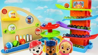 Learn Colors with Paw Patrol and Marble Maze Ball Tower Wooden Toys