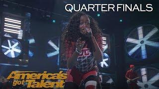 "Flau'jae: Teenage Rapper Performs Original Anthem ""Let Downs"" - America's Got Talent 2018"