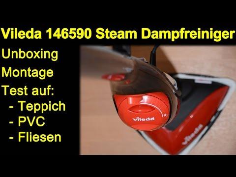 Vileda 146590 Dampfreiniger Mop - Unboxing, Montage, Test Teppich, PVC, Fliesen, Review de