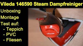 Vileda 146590 Dampfreiniger Mop - Auspacken, Montage, Test Teppich, PVC, Fliesen, Review de