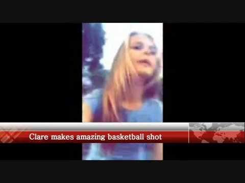 12yo girl makes amazing basketball shot