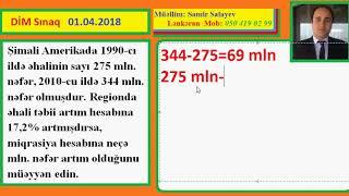 DİM SINAQ 01.04.2018 - Coğrafiya Əhali məsələsi - Samir M (Lənkəran)