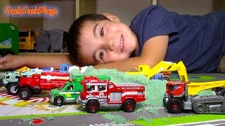Toy Trucks For Kids: Matchbox Truck Toys UNBOXING: Fire Engine And Tow | Playing With Kinetic Sand