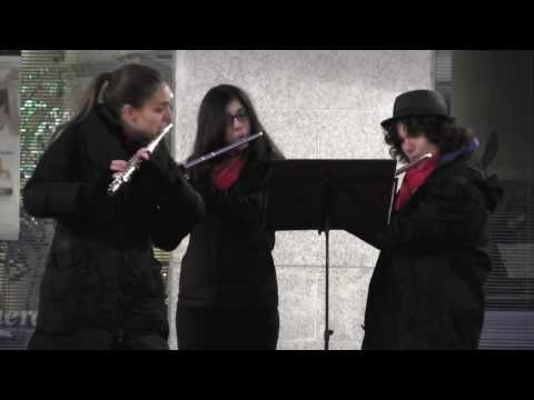 Playing  with two students in the Christmas serenade