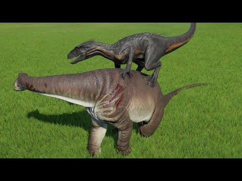 Nigersaurus New Death Animations VS All Large Carnivores - Jurassic World Evolution