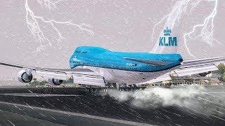 Crazy GO AROUND during a Hurricane | New Flight Simulator 2017 [P3D 4.0 - Ultra Realism]