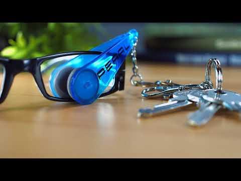 PEARL Brillen-Putz-Zange mit Mikrofaser-Tüchern im Schlüsselanhänger-Format