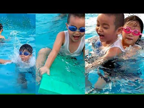 Gia Linh em Cò và Gato đi tắm bể bơi Gia Linh dạy em Cò tập bơi