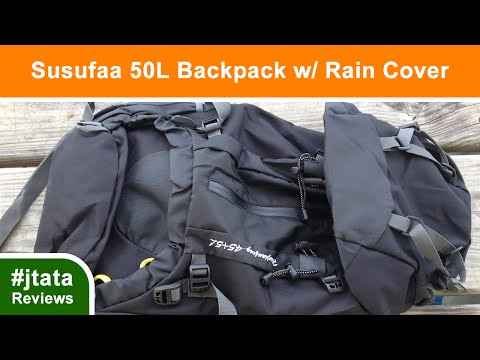 Hiking Backpack 50L Waterproof Backpack w/ Rain Cover from Susufaa