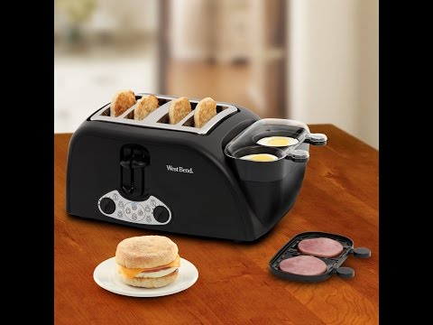 , West Bend TEM4500W Quick Egg Bagel and Muffin Wide Slot Toaster