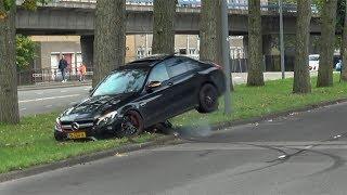 Mercedes C63S AMG HARD CRASH INTO A TREE!! Drift goes wrong..