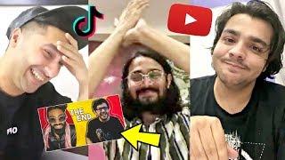 YouTubers Reaction On Carryminati Roast Tik Tok vs YouTube THE END