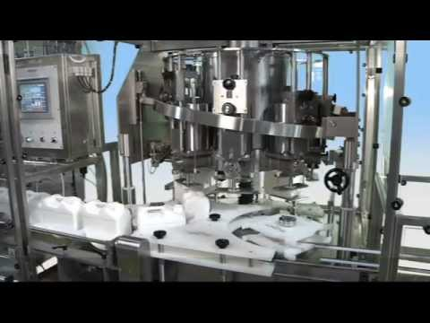 RPF-8G 8-head Rotary Piston Filler for Gallon and 5L Containers Bottle filler sold by MRM Elgin - Cozzoli Machine Company