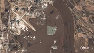 Nebraska and Iowa flooding  Before and after satellite images show rivers swallowing towns