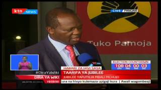 Head of Jubilee secretariat Raphael Tuju addresses the media concerning the nominations tussle