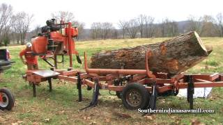 Wood Mizer saws Large Pecan log into flooring! Southern Indiana Sawmill