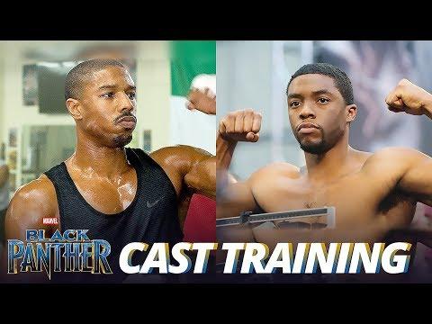 Black Panther Cast Training: Michael B. Jordan & Chadwick Boseman