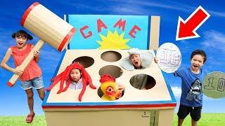 Huge whack-a-mole ☆ Cardboard Box Fun Game For Kids