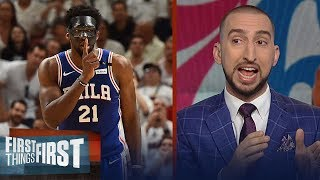 Nick Wright on Embiid's playoff debut in Philly, Talks Anthony Davis | FIRST THINGS FIRST