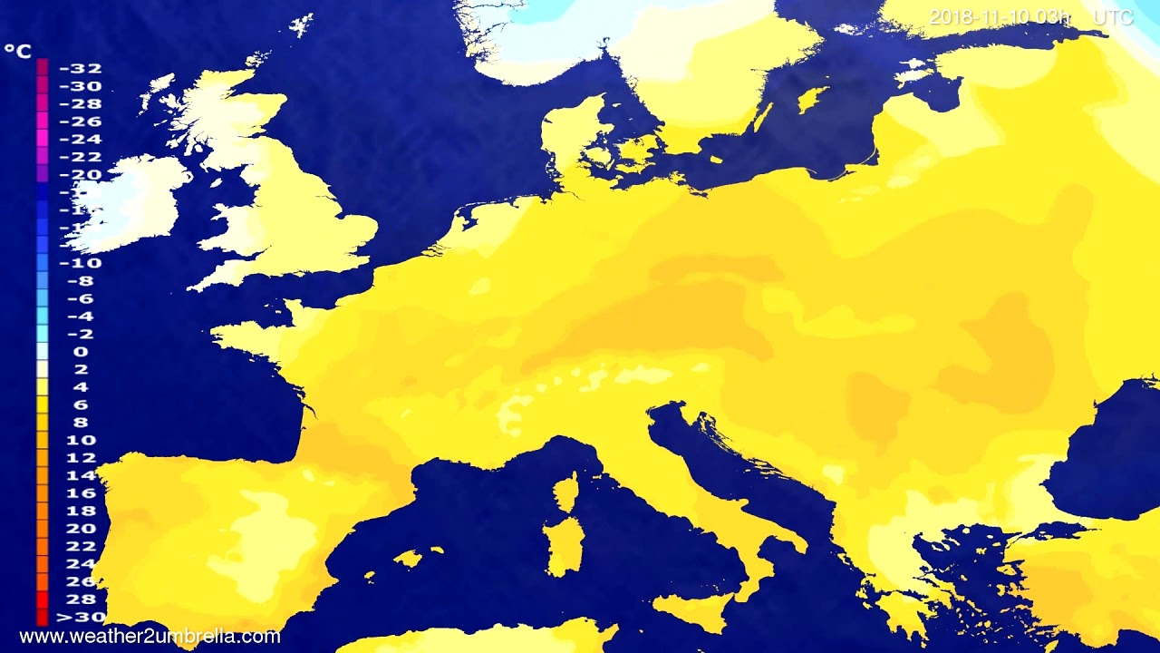 Temperature forecast Europe 2018-11-07