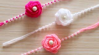 How To Make Rakhi | DIY | Handmade Rakhi | Rakhi Making With Wool | Flower Rakhi | Rose With Wool