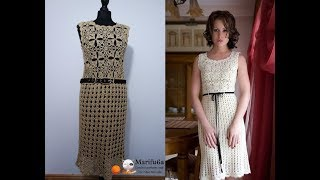 How to crochet elegant beige dress easy pattern tutorial all sizes