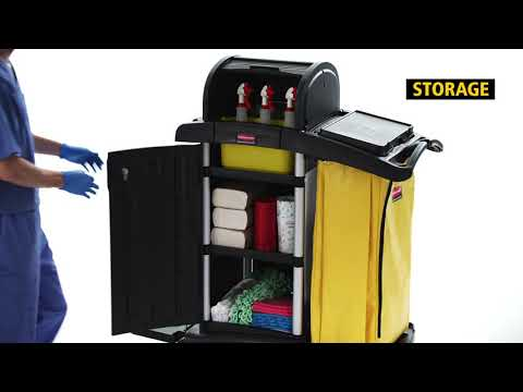 Product video for Executive Janitorial Cleaning Cart with Doors and Hood –  High Security, Black
