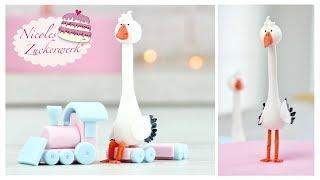 3D Storch Aus Fondant I Tortenfigur I Babyparty Stork Cake Topper I Modellieren Für Motivtorten