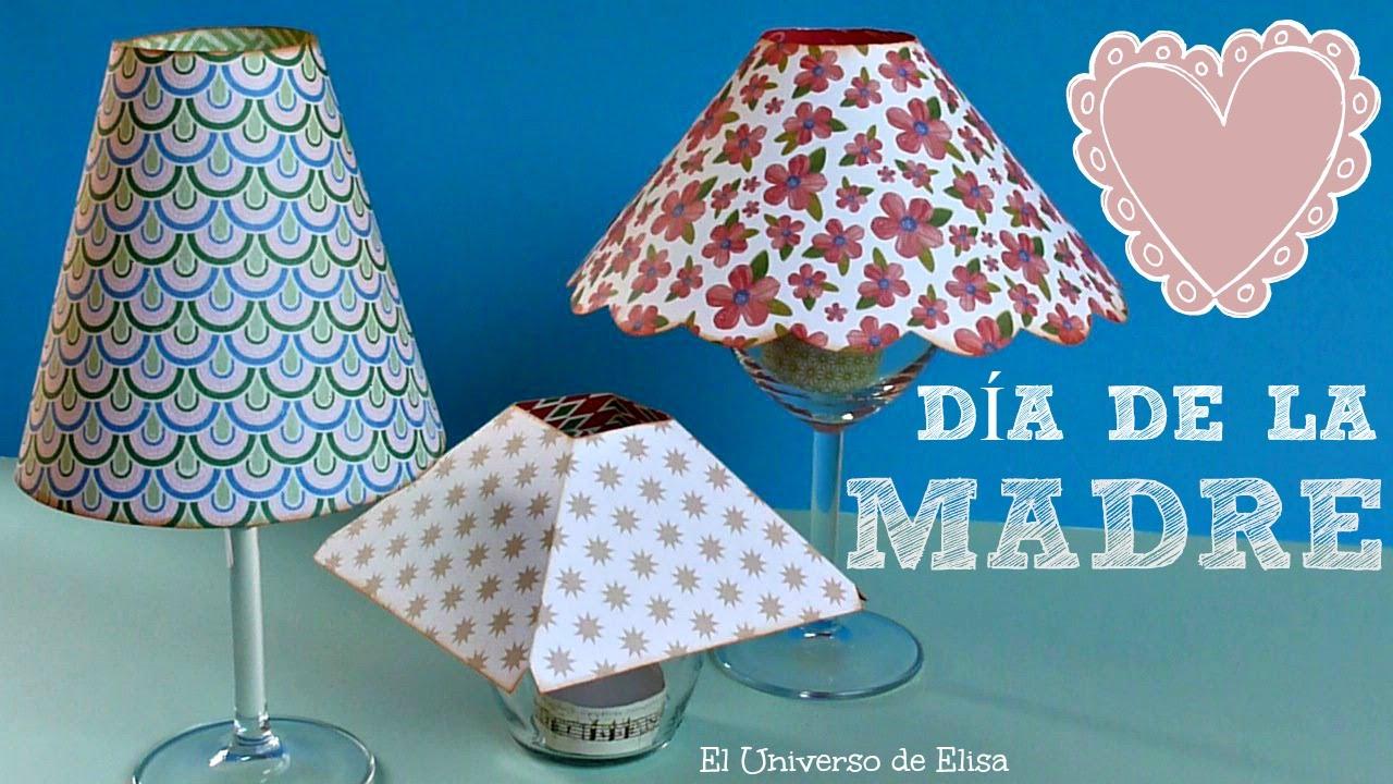 Super Fácil, Lámpara con Copa de Vino, Regalos para el Día de la Madre, Manualidades Día de la Madre