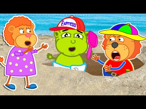 Family Vacation with baby Chris 🍒 Lion Family   Cartoon for Kids