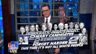 """Stephen Colbert delivers his LIVE post-debate monologue on a night marked by arguments over healthcare plans, a """"victory"""" for Bill deBlasio, and campaign-tested zingers from the likes of Andrew Yang. #LSSC #DemDebates #Colbert  Subscribe To """"The Late Show"""" Channel HERE: http://bit.ly/ColbertYouTube For more content from """"The Late Show with Stephen Colbert"""", click HERE: http://bit.ly/1AKISnR Watch full episodes of """"The Late Show"""" HERE: http://bit.ly/1Puei40 Like """"The Late Show"""" on Facebook HERE: http://on.fb.me/1df139Y Follow """"The Late Show"""" on Twitter HERE: http://bit.ly/1dMzZzG Follow """"The Late Show"""" on Google+ HERE: http://bit.ly/1JlGgzw Follow """"The Late Show"""" on Instagram HERE: http://bit.ly/29wfREj Follow """"The Late Show"""" on Tumblr HERE: http://bit.ly/29DVvtR  Watch The Late Show with Stephen Colbert weeknights at 11:35 PM ET/10:35 PM CT. Only on CBS.  Get the CBS app for iPhone & iPad! Click HERE: http://bit.ly/12rLxge  Get new episodes of shows you love across devices the next day, stream live TV, and watch full seasons of CBS fan favorites anytime, anywhere with CBS All Access. Try it free! http://bit.ly/1OQA29B  --- The Late Show with Stephen Colbert is the premier late night talk show on CBS, airing at 11:35pm EST, streaming online via CBS All Access, and delivered to the International Space Station on a USB drive taped to a weather balloon. Every night, viewers can expect: Comedy, humor, funny moments, witty interviews, celebrities, famous people, movie stars, bits, humorous celebrities doing bits, funny celebs, big group photos of every star from Hollywood, even the reclusive ones, plus also jokes."""
