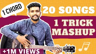 1 Chord / 1 Trick | 20 Guitar Songs MASHUP Lesson | Bollywood/Hindi Songs Mashup | One Chord
